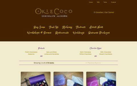 Screenshot of Products Page okiecoco.co.uk - Products / Okie Coco Chocolate Alchemy - captured Oct. 26, 2014