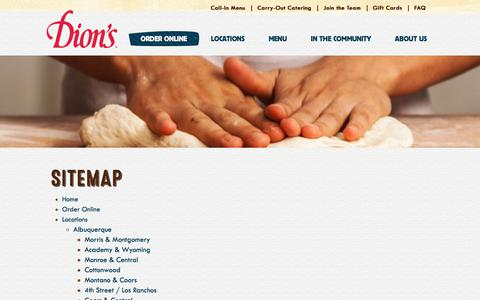 Screenshot of Site Map Page dions.com - Dion's Sitemap - captured Aug. 7, 2018