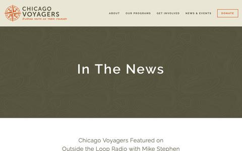 Screenshot of Press Page chicagovoyagers.org - In The News — Chicago Voyagers - captured Nov. 4, 2018