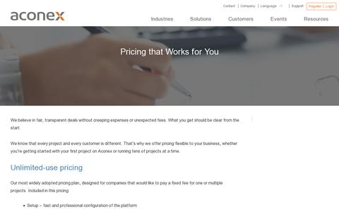 Screenshot of Pricing Page aconex.com - Price is important. But so is the right approach to pricing. | Aconex - captured July 20, 2014