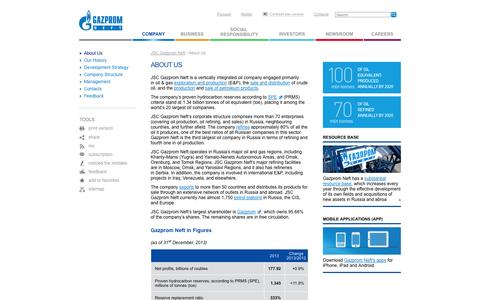 Screenshot of About Page gazprom-neft.com - About Us - JSC Gazprom Neft - captured Sept. 23, 2014