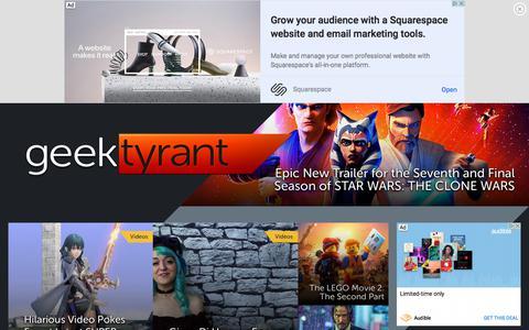 Screenshot of Home Page geektyrant.com - GeekTyrant – Geek Movie and Entertainment News - captured Jan. 25, 2020