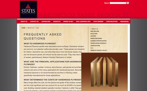 Screenshot of FAQ Page statesind.com - States Industries - captured Oct. 7, 2014