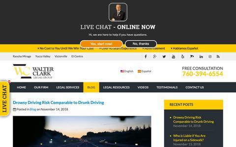 Screenshot of Blog walterclark.com - Palm Springs Personal Injury Law Blog | Walter Clark Legal Group - captured Nov. 15, 2018
