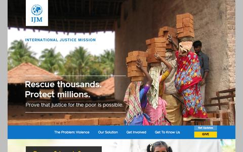 Screenshot of Home Page ijm.org - Welcome to International Justice Mission | International Justice Mission - captured Sept. 19, 2014