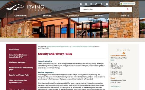 Screenshot of Privacy Page cityofirving.org - Security and Privacy Policy | Irving, TX - Official Website - captured Oct. 31, 2014