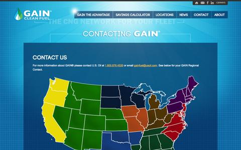 Screenshot of Contact Page gainfuel.com - CNG Cost Per-Gallon | CNG MPG | CNG Stations | CNG Tools | CNG Truck | GAIN - captured Oct. 1, 2014