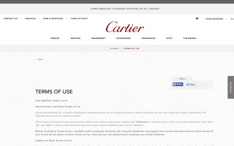 Terms of Use - Cartier