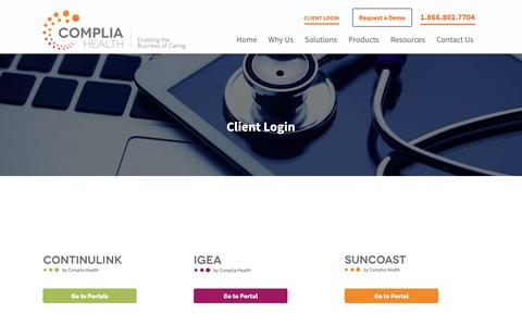 Screenshot of Login Page compliahealth.com - Product Logins | Complia Health - captured June 9, 2019