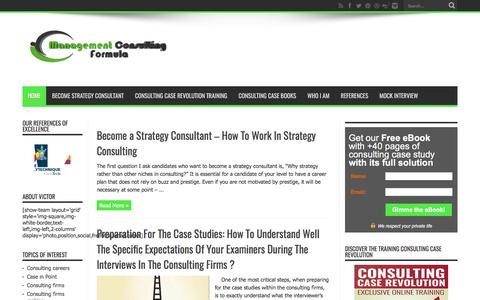 Screenshot of Home Page management-consulting-formula.com - Consulting case preparation for management consulting | Case interview preparation for management consulting - captured April 30, 2017