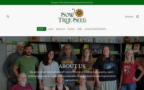 Screenshot of About Page sowtrueseed.com - About Us                      – Sow True Seed - captured Feb. 20, 2018