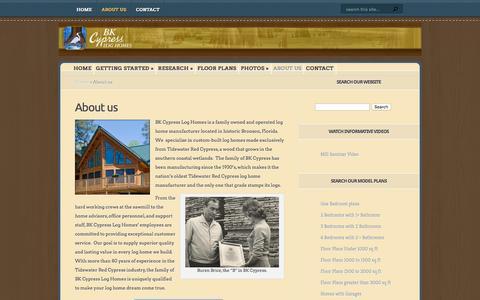 Screenshot of About Page bkcypress.com - About us   BK Cypress Log Homes - captured Feb. 7, 2016