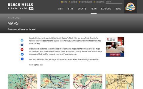 Screenshot of Maps & Directions Page blackhillsbadlands.com - Maps | Black Hills & Badlands - South Dakota - captured Sept. 24, 2018