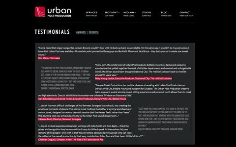 Screenshot of Testimonials Page urbanpost.ca - Testimonials > Urban Post | Urban Post Production - captured Oct. 27, 2014