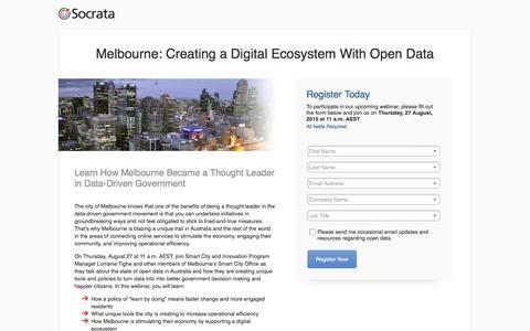 Screenshot of Landing Page socrata.com - Create a Digital Ecosystem With Open Data - captured Oct. 28, 2016