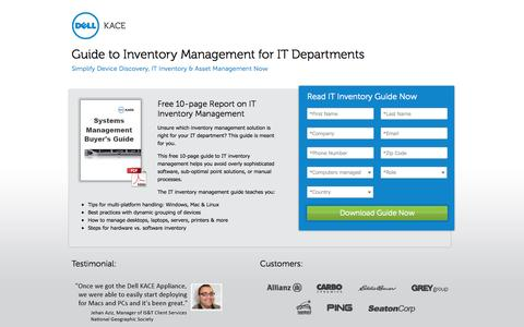 Screenshot of Landing Page kace.com - IT Inventory Management Buyers Guide | Dell KACE - captured Oct. 27, 2014