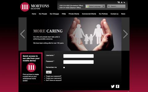Screenshot of Login Page mortons-solicitors.com - User Login - captured Dec. 20, 2015