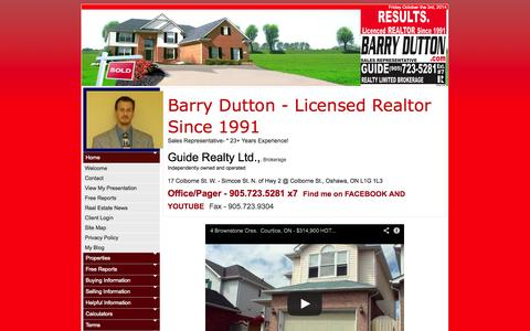 Screenshot of Home Page barrydutton.com - Barry Dutton, Sales Representative :: Guide Realty Limited, Brokerage :: 905.723.5281 - captured Oct. 3, 2014
