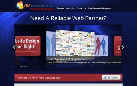 Screenshot of Home Page vbatechnologies.com - Professional SEO & WebDesign Company - captured Sept. 30, 2014