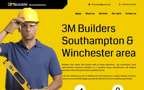Screenshot of Home Page 3mbuilders.co.uk - Building Services - 3M Builders - Winchester, Southampton, New Forest area, Hampshire - Professional builders - captured Sept. 12, 2015