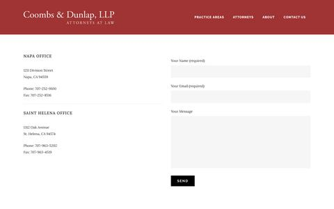 Screenshot of Contact Page coombslaw.com - Coombs & Dunlap, LLP |   Contact Us - captured Nov. 12, 2016