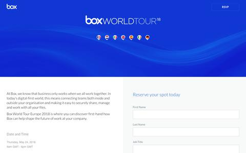 Screenshot of Landing Page box.com - Box World Tour 2018 - captured March 4, 2018
