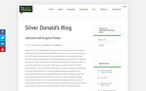Screenshot of Blog thegreeninterview.com - Silver Donald's Blog - The Green Interview - captured Oct. 20, 2018