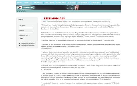 Screenshot of Testimonials Page itcontacts.com - Testimonials - IT Contacts Ltd - captured Sept. 30, 2014