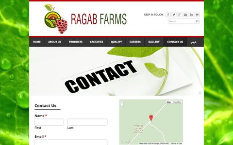 Screenshot of Contact Page ragabfarms.com - Contact us - Ragab Farms - captured Oct. 7, 2014