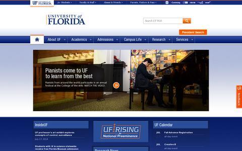 Screenshot of Home Page ufl.edu - University of Florida - captured July 17, 2014