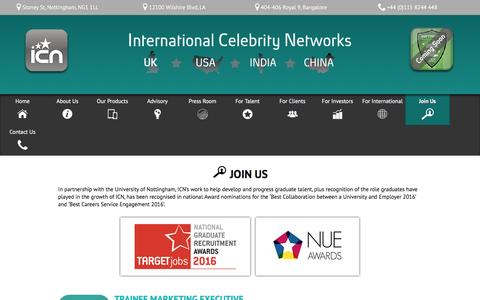 Screenshot of Jobs Page icn-apps.com - International Celebrity Networks | Join Us! - captured June 27, 2016