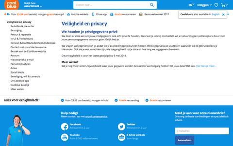 Screenshot of Privacy Page coolblue.nl - Veiligheid en privacy - Coolblue - alles voor een glimlach - captured Aug. 30, 2018