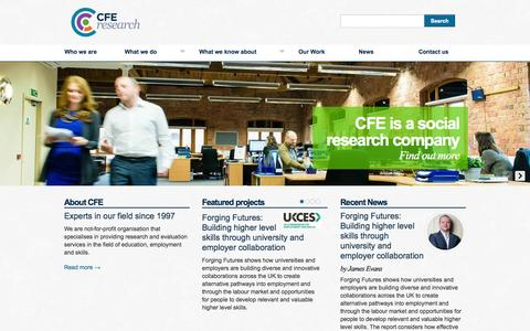 Screenshot of Home Page cfe.org.uk - CFE Research - captured Oct. 1, 2014