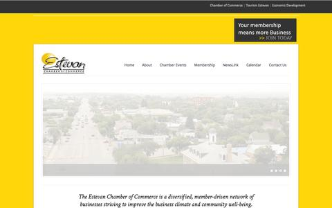 Screenshot of Home Page estevanchamber.ca - Estevan Chamber of Commerce - captured Oct. 2, 2014