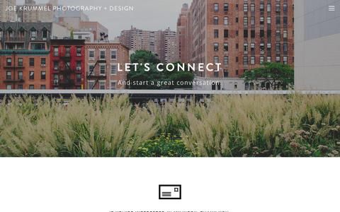 Screenshot of Contact Page joekrummel.com - Get in Touch — Joe Krummel Photography + Design - captured Oct. 6, 2014