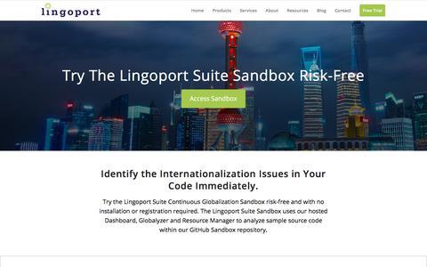 Screenshot of Trial Page lingoport.com - Lingoport Suite Sandbox - Lingoport - captured July 20, 2018
