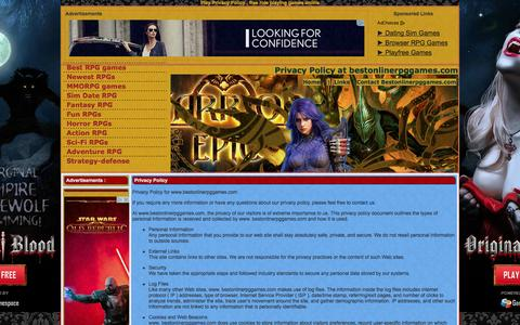 Screenshot of Privacy Page bestonlinerpggames.com - Privacy Policy -  bestonlinerpggames.com - captured Sept. 23, 2014