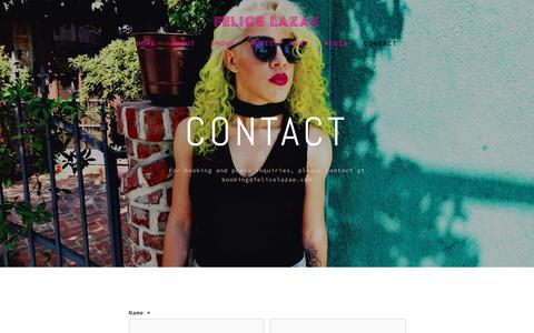 Screenshot of Contact Page felicelazae.com - Contact — Felice LaZae - captured Oct. 30, 2018