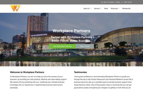 Screenshot of Home Page workplacepartners.com.au - Workplace Partners - HR, Business Advisory & Improvement Adelaide - captured Nov. 17, 2018