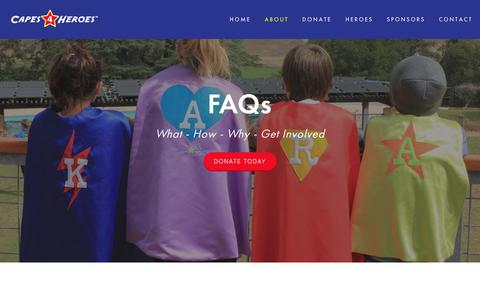 Screenshot of FAQ Page capes4heroes.com - FAQs   Frequently Asked Questions   Capes4Heroes - captured Nov. 4, 2018