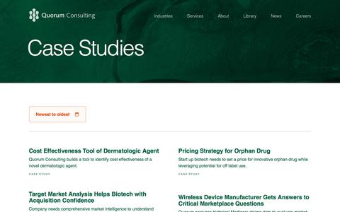 Screenshot of Case Studies Page quorumconsulting.com - Cost Effectiveness Tool of Dermatologic Agent   Quorum Consulting - captured May 25, 2017