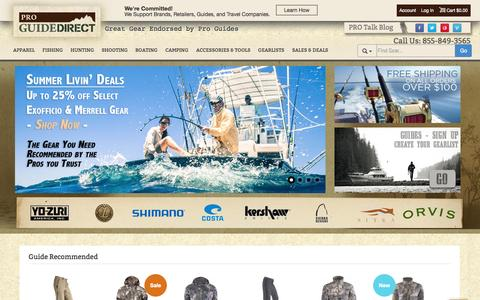 Screenshot of Home Page proguidedirect.com - ProGuideDirect.com: Great Gear Endorsed by Pro Guides - captured Sept. 23, 2014