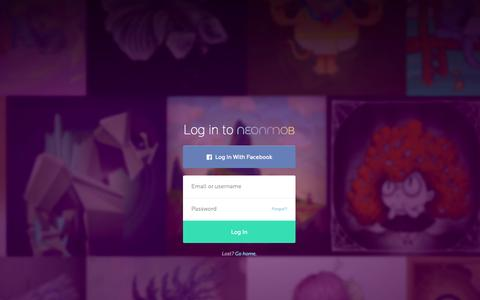 Screenshot of Login Page neonmob.com - NeonMob | Collect, Exchange, and Trade Original Digital Art - captured Nov. 18, 2015