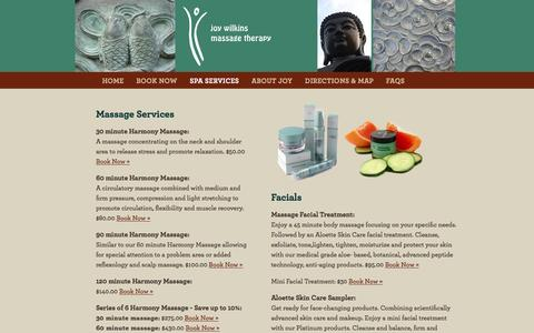 Screenshot of Services Page joywilkins.com - Joy Wilkins Massage Therapy - captured Feb. 11, 2016