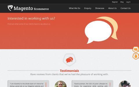 Screenshot of Testimonials Page magentoecommerce.net - Testimonials - captured Sept. 23, 2014