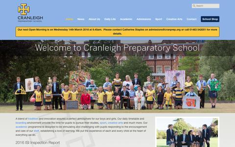 Screenshot of Home Page cranprep.org - Cranleigh Preparatory School -Cranleigh Preparatory School - captured Feb. 15, 2018