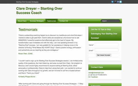 Screenshot of Testimonials Page claredreyer.com - Testimonials - Clare Dreyer - Starting Over Success Coach - captured Oct. 1, 2014