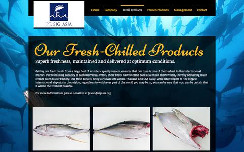 Screenshot of Products Page tunacatch.com - PT. SIG ASIA | Sustainable Tuna from Indonesia | Fresh Products - captured July 5, 2017