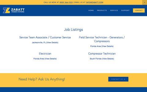 Screenshot of Jobs Page zabatt.com - Careers — Zabatt Power Systems - captured Feb. 13, 2016