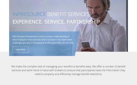 Screenshot of Home Page infinisource.com - Infinisource Benefit Services - captured Aug. 12, 2019